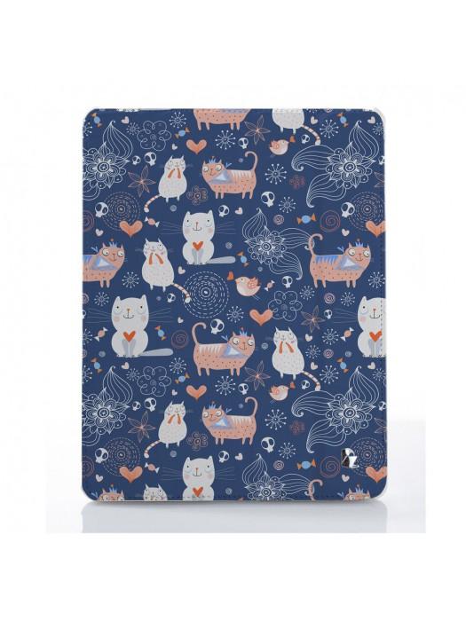 Чехол для iPad Коты патерн синий романтик